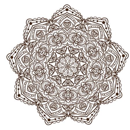 fekete-fehér: Ornament black white card with mandala.