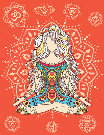 Ornament beautiful card with Vector yoga.  Stock Illustratie