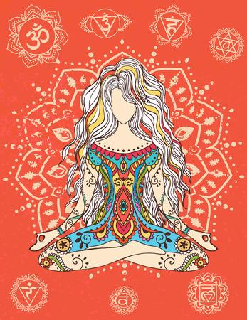 mujer hippie: Ornamento tarjeta hermosa con vector de yoga.