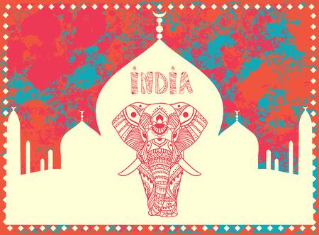 animal tattoo: Greeting Beautiful card with Elephant.