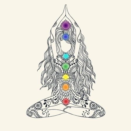 Ornament mooie kaart met Vector yoga. Geometrische element hand getekend. Perfecte kaarten voor elke andere vorm van design, verjaardag en andere vakantie, caleidoscoop, medaillon, yoga, india, Arabisch Stockfoto - 43821389