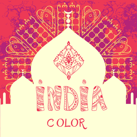 india: Ornametal Happy Holi and Dolyatra celebration card with mandala. Invitation card in vector. Perfect  cards for any other kind of design and other holiday, kaleidoscope,  medallion, yoga, india, arabic Illustration