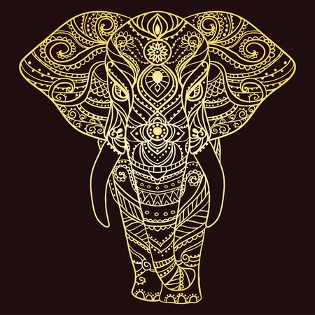 thai elephant: Greeting Beautiful card with Elephant. Frame of animal made in vector. Perfect cards, or for any other kind of design, birthday and other holiday.Seamless hand drawn map with Elephant. Illustration