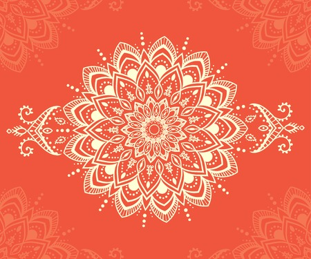 Ornament beautiful  card with mandala. Geometric circle element made in vector. Perfect  cards for any other kind of design, birthday and other holiday, kaleidoscope,  medallion, yoga, india, arabic 矢量图像