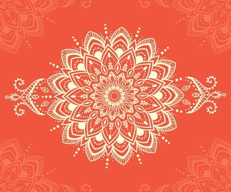 tribales: Ornamento tarjeta hermosa con la mandala. Elemento círculo geométrico hecho en vector. Tarjetas perfectas para cualquier otro tipo de diseño, cumpleaños y otras fiestas, caleidoscopio, medallón, el yoga, la india, árabe Vectores