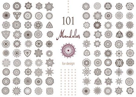 マンダラのラウンド セットを飾り。幾何学的な円の要素ベクトルで行われました。パーフェクト セット デザイン、誕生日やその他の休日の他の種