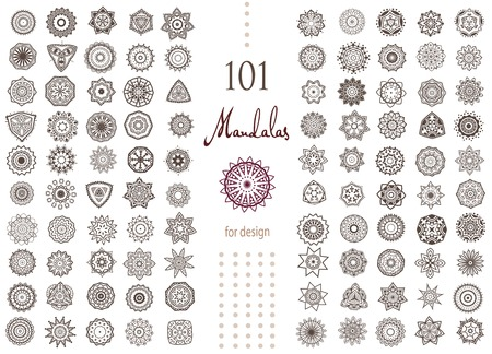Jeu d'arrondis Ornement avec mandala. Élément de cercle géométrique faite dans le vecteur. Ensemble parfait pour ne importe quel autre type de conception, anniversaire et d'autres vacances, kaléidoscope, médaillon, le yoga, l'inde, arabe Banque d'images - 43829160