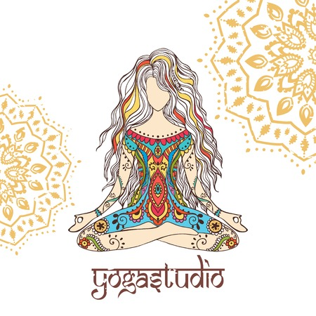 Ornament beautiful card with Vector yoga. Geometric element hand drawn. Perfect  cards for any other kind of design, birthday and other holiday, kaleidoscope,  medallion, yoga, india, arabic