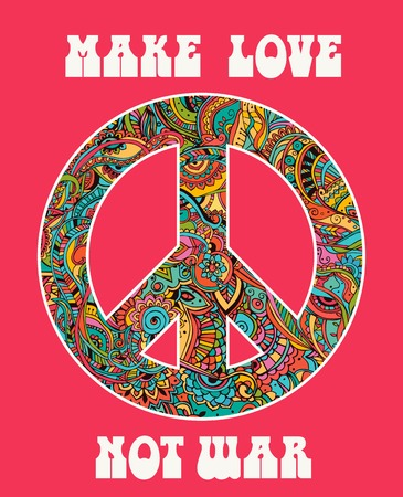 symbol of peace: Hippie style. Ornamental watercolor background. Love and Music with hand-written fonts, hand-drawn doodle background and textures. Hippy color vector illustration. Retro 1960s, 60s, 70s