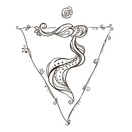 Ornament card with chakra. Geometric element hand drawn. Perfect  cards for any other kind of design, yoga center, class, Muladhara,Manipu,r Anahata, Vishudha, Ajna, Sahasrara, swadhistana Stock Vector - 46999069