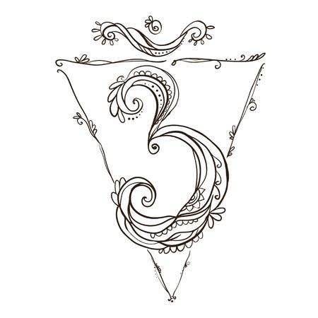 Ornament card with chakra. Geometric element hand drawn. Perfect  cards for any other kind of design, yoga center, class, Muladhara,Manipu,r Anahata, Vishudha, Ajna, Sahasrara, swadhistana Stock Vector - 47077467
