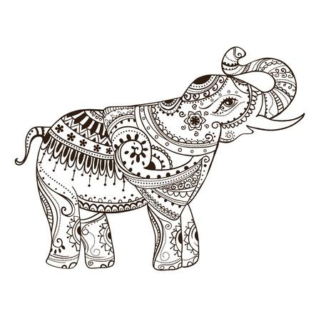 象とグリーティング美しいカード。ベクトルは、動物のフレームです。完璧なカード、または設計、誕生日および他の休日の他の種類。象とシーム