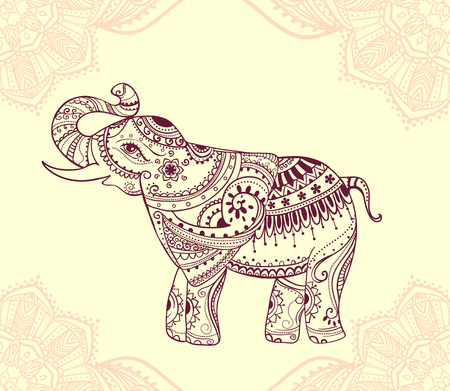 Greeting Beautiful card with Elephant. Frame of animal made in vector. Perfect cards, or for any other kind of design, birthday and other holiday.Seamless hand drawn map with Elephant. Çizim