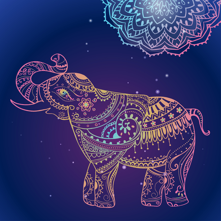 Greeting Beautiful card with Elephant. Frame of animal made in vector. Perfect cards, or for any other kind of design, birthday and other holiday.Seamless hand drawn map with Elephant. Vettoriali