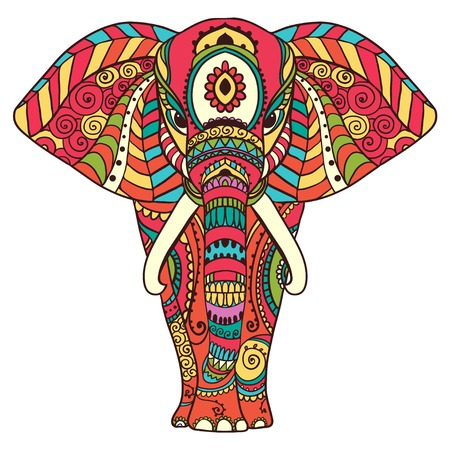 Greeting Beautiful card with Elephant. Frame of animal made in vector. Perfect cards, or for any other kind of design, birthday and other holiday.Seamless hand drawn map with Elephant.  イラスト・ベクター素材