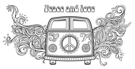 simbolo della pace: Hippie auto d'epoca un furgone. Sfondo ornamentale. Amore e musica con i caratteri scritti a mano, disegnati a mano doodle background e texture. Hippy colore illustrazione vettoriale. 1960 retrò, anni '60, '70 Vettoriali