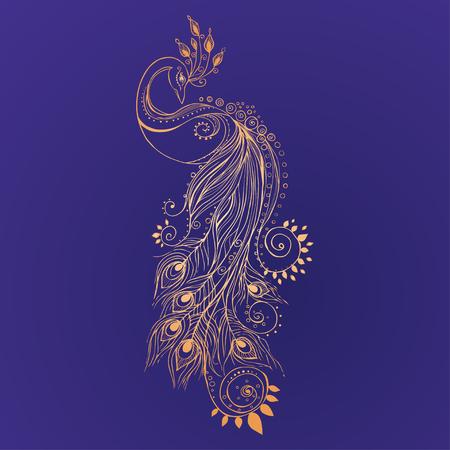 plumas de pavo real: Saludo Tarjeta hermosa con el pavo real. Marco de pavo real hecha en el vector. Tarjetas perfectas, o para cualquier otro tipo de diseño, cumpleaños y otro mapa holiday.Seamless dibujado a mano con el pavo real.