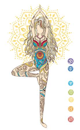 벡터 요가와 장식 아름다운 카드. 기하학적 요소 손으로 그린. 아랍어 디자인, 생일 및 기타 휴일, 만화경, 메달, 요가, 인도, 다른 종류의를위한 완