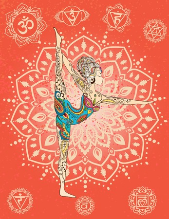 indian yoga: Ornament beautiful card with Vector yoga. Geometric element hand drawn. Perfect  cards for any other kind of design, birthday and other holiday, kaleidoscope,  medallion, yoga, india, arabic