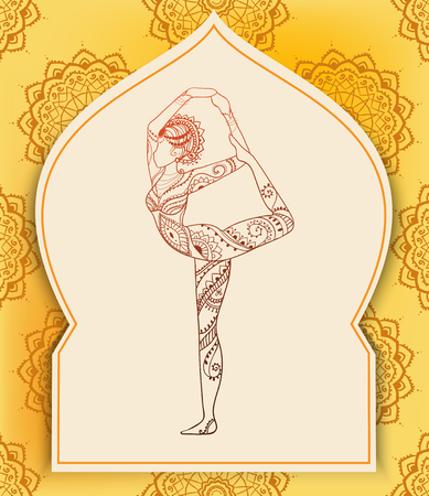 yoga to cure health: Ornament beautiful card with Vector yoga. Geometric element hand drawn. Perfect  cards for any other kind of design, birthday and other holiday, kaleidoscope,  medallion, yoga, india, arabic