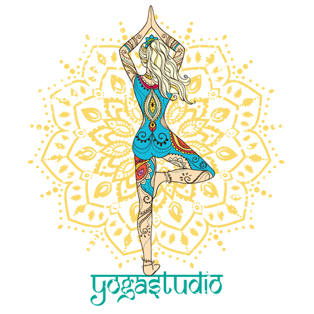 yoga girl: Ornament beautiful card with Vector yoga. Geometric element hand drawn. Perfect  cards for any other kind of design, birthday and other holiday, kaleidoscope,  medallion, yoga, india, arabic