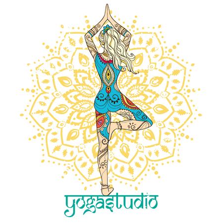 mujer hippie: Ornamento tarjeta hermosa con vector de yoga. Dibujado elemento geom�trico mano. Tarjetas perfectas para cualquier otro tipo de dise�o, cumplea�os y otras fiestas, caleidoscopio, medall�n, el yoga, la india, �rabe Vectores