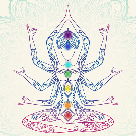 astral: Ornament beautiful card with Vector yoga. Geometric element hand drawn. Perfect  cards for any other kind of design, birthday and other holiday, kaleidoscope,  medallion, yoga, india, arabic