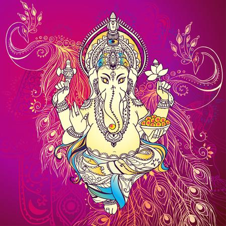 mano de dios: Ornamento tarjeta hermosa con Dios Ganesha. Dibujado elemento geom�trico mano. Tarjetas perfectas para cualquier otro tipo de dise�o, cumplea�os y otro d�a de fiesta, caleidoscopio, medall�n, el yoga, la india, �rabe Vectores