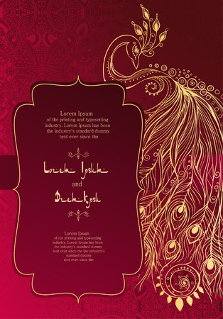 indian animal: Vintage invitation cards with lace ornament. Eastern floral decor. Template frame. Perfect cards for any other kind of design, birthday and other holiday, kaleidoscope,  medallion, yoga, india, arabic Illustration