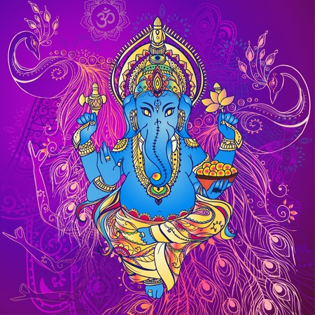 indian art: Ornament beautiful card with God Ganesha. Geometric element hand drawn. Perfect  cards for any other kind of design, birthday and other holiday, kaleidoscope,  medallion, yoga, india, arabic Illustration