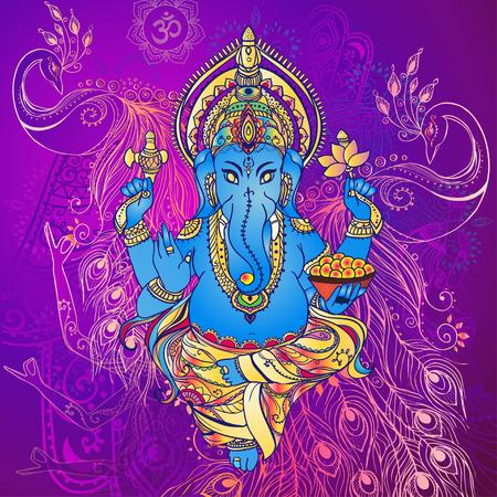 mano de dios: Ornamento tarjeta hermosa con Dios Ganesha. Dibujado elemento geométrico mano. Tarjetas perfectas para cualquier otro tipo de diseño, cumpleaños y otro día de fiesta, caleidoscopio, medallón, el yoga, la india, árabe Foto de archivo