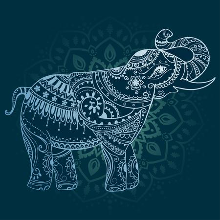 elefant: Gru� Sch�ne Karte mit Elefant. Frame of animal gemacht in Vektor. Perfekte Karten oder f�r jede andere Art von Design, Geburtstag und andere holiday.Seamless Hand gezeichnete Karte mit Elefant. Lizenzfreie Bilder