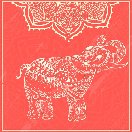 persia: Greeting Beautiful card with Elephant. Frame of animal made in vector. Perfect cards, or for any other kind of design, birthday and other holiday.Seamless hand drawn map with Elephant. Illustration