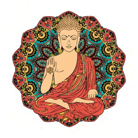 Ornament schöne Karte mit Buddha. Geometrieelement von Hand gezeichnet. Perfekte Karten für jede andere Art von Design, Geburtstag und andere Urlaub, kaleidoskop, Medaillon, yoga, indien, arabisch Standard-Bild - 47171448