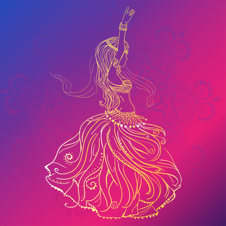 belly dance: Ornament beautiful card with girl belly dance. Geometric element hand drawn. Perfect  cards for any other kind of design, birthday and other holiday, kaleidoscope,  medallion, yoga, india, arabic