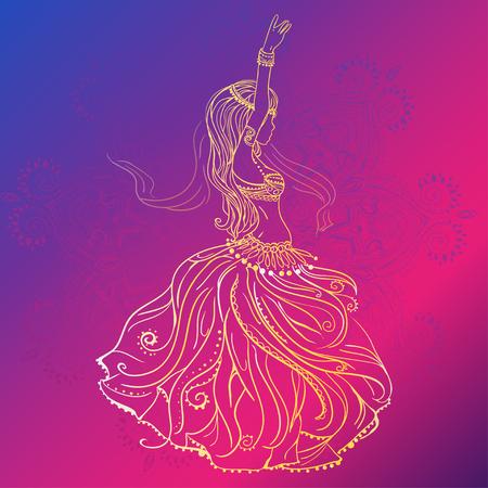 bailarinas arabes: Ornamento tarjeta hermosa con la danza del vientre ni�a. Dibujado elemento geom�trico mano. Tarjetas perfectas para cualquier otro tipo de dise�o, cumplea�os y otro d�a de fiesta, caleidoscopio, medall�n, el yoga, la india, �rabe Vectores