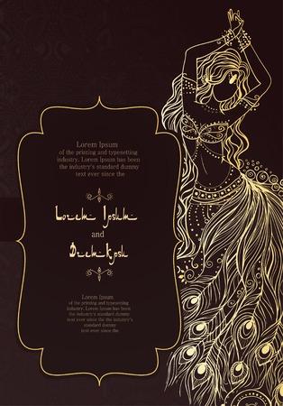 레이스 장식 빈티지 초대 카드. 동부 꽃 장식. 템플릿 프레임. 아랍어 디자인, 생일 및 기타 휴일, 만화경, 메달, 요가, 인도, 다른 종류의를위한 완벽한