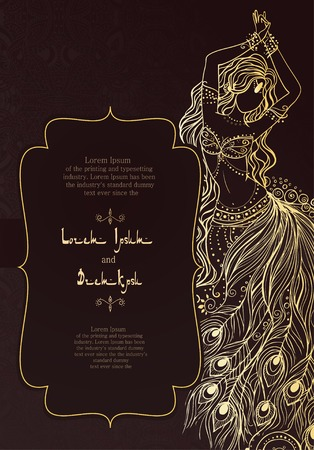danseuse: Cartes d'invitation vintage avec ornement en dentelle. Décoration florale orientale. Cadre modèle. Cartes parfaites pour tout autre type de conception, d'anniversaire et d'autres vacances, kaléidoscope, médaillon, le yoga, l'inde, arabe