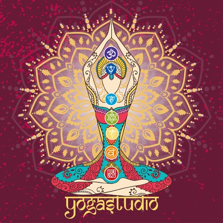 kundalini: Ornament beautiful card with Vector yoga. Geometric element hand drawn. Perfect  cards for any other kind of design, birthday and other holiday, kaleidoscope,  medallion, yoga, india, arabic