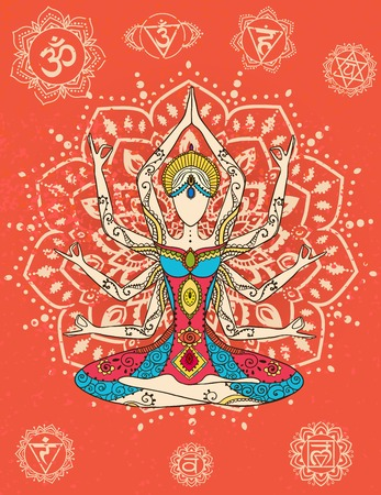 india people: Ornament beautiful card with Vector yoga. Geometric element hand drawn. Perfect  cards for any other kind of design, birthday and other holiday, kaleidoscope,  medallion, yoga, india, arabic