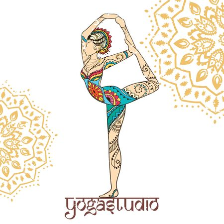 balance rainbow colors: Ornament beautiful card with Vector yoga. Geometric element hand drawn. Perfect  cards for any other kind of design, birthday and other holiday, kaleidoscope,  medallion, yoga, india, arabic