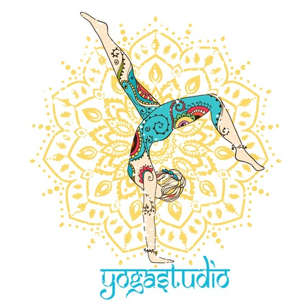 sport woman: Ornament beautiful card with Vector yoga. Geometric element hand drawn. Perfect  cards for any other kind of design, birthday and other holiday, kaleidoscope,  medallion, yoga, india, arabic