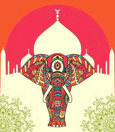 elefant: Gruß Schöne Karte mit Elefant. Frame of animal gemacht in Vektor. Perfekte Karten oder für jede andere Art von Design, Geburtstag und andere holiday.Seamless Hand gezeichnete Karte mit Elefant. Illustration