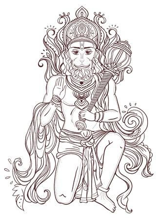 Lord Hanuman의 장식 카드. 행복 한 Dussehra의 그림입니다. 다른 종류의 디자인, 생일 및 기타 공휴일, 만화경, 메달, 요가, 인도, 아랍어를위한 완벽한 카드