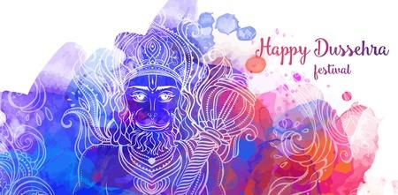ravana: Ornament card with of Lord Hanuman. Illustration of Happy Dussehra (Vijayadashami). Perfect cards for any other kind of design, birthday and holiday, kaleidoscope,  medallion, yoga, india, arabic Illustration