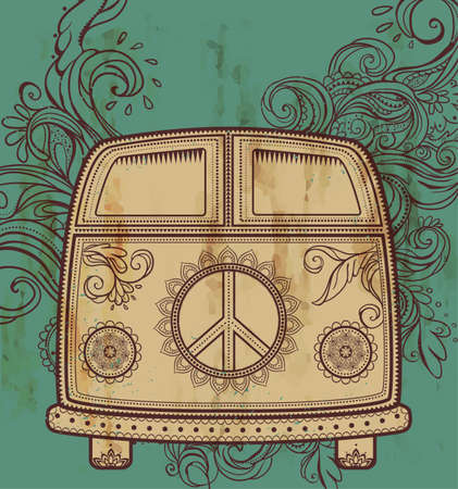 60s: Hippie vintage car a mini van. Ornamental background. Love and Music with hand-written fonts, hand-drawn doodle background and textures. Hippy color vector illustration. Retro 1960s, 60s, 70s