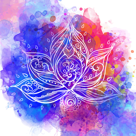 yoga class: Ornamental Boho Style lotus Flower. Geometric element hand drawn. Perfect  cards for any other kind of design, birthday and other holiday, medallion, yoga, india, arabic, om