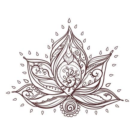 Sier Boho Style lotusbloem. getekende geometrische element de hand. Perfecte kaarten voor enige andere vorm van design, verjaardag en andere vakantie, medaillon, yoga, india, arabisch, om