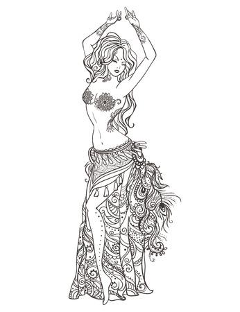 여자 밸리 댄스와 장식 아름다운 카드. Mehenidi 요소 손으로 그린. 아랍어 디자인, 동양 춤, 만화경, 메달, 요가, 인도, 다른 종류의를위한 완벽