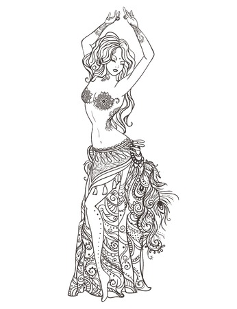 Ornament beautiful card with girl belly dance. Mehenidi element hand drawn. Perfect  cards for any other kind of design, oriental dance, kaleidoscope,  medallion, yoga, india, arabic Vectores